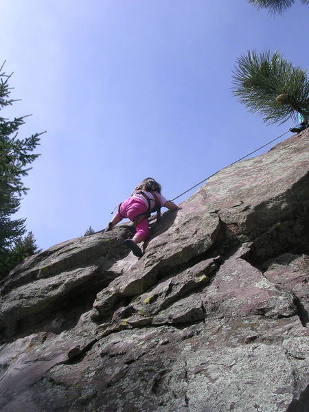 Erin, 3 1/2, at the crux.<br> <br> <em>Addendum:</em> The shot was intended to inspire other 3 1/2 year olds to give it a try.