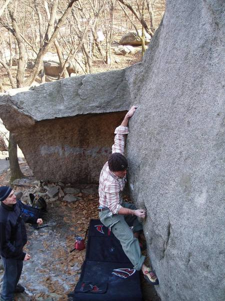 Mid-crux on an Insubong classic in South Korea.