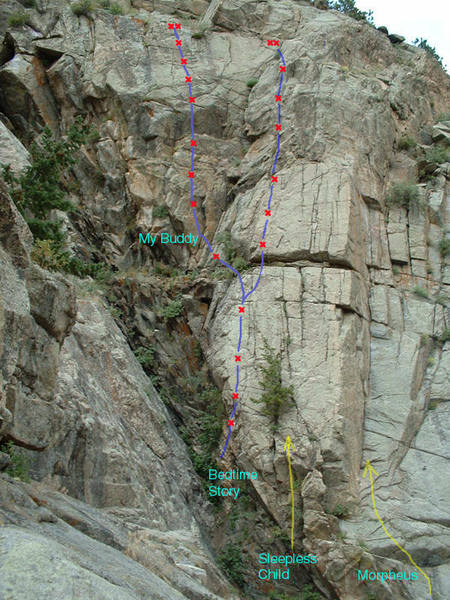 Routes on the far left side of Plotinus Wall.