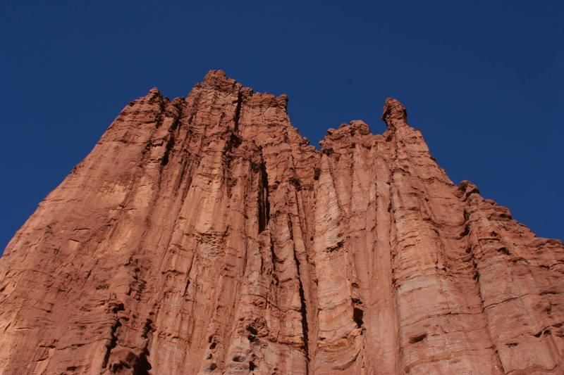A profile of the Titan from the base showing the complex and fluted east face.  Lots of unclimbed territory here.