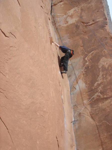 Christian age 11 climbing 30 seconds over potash, Moab Utah