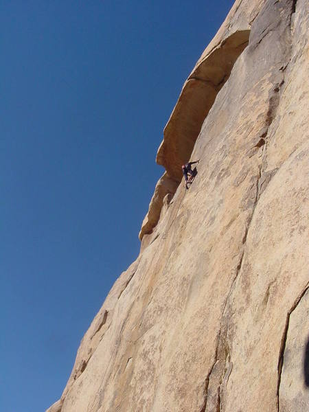 Bobby P. at the second sequential / technical crux (11+) on the first pitch enroute to the anchors.