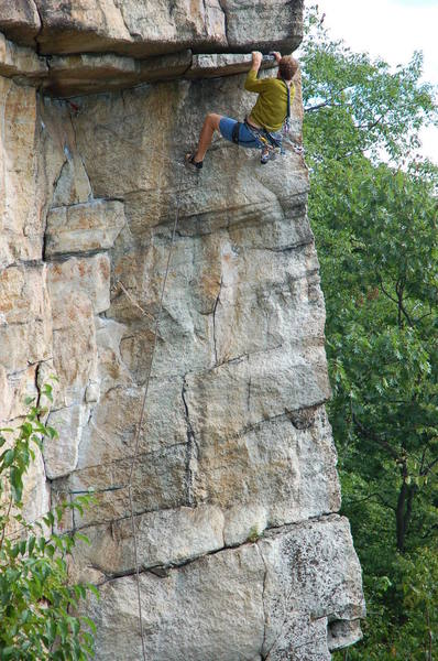 Jeff Arliss pulling the first roof on Feast of Fools (5.10).