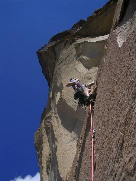 Steve Drake on the steep and clean portion of the 5.9 crack on pitch #2.