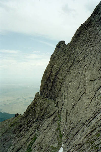 """Profile of the route. The """"notch"""" toward the bottom is the 5.8 crux."""