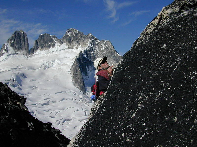 Chris pinching crystals on Bugaboo Spire.
