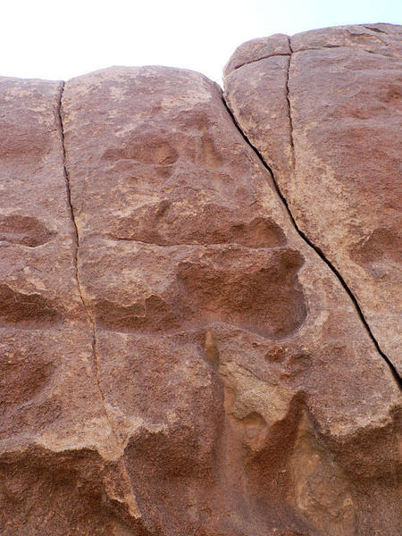 The Y-shaped crack is Crack #5.  The left fork of the Y is 5.9 hands, while the right is 5.10a/b fingers.