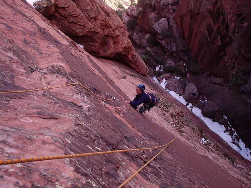 Pitch 2, final crux moves<br> <br> climber: Jeff Davis