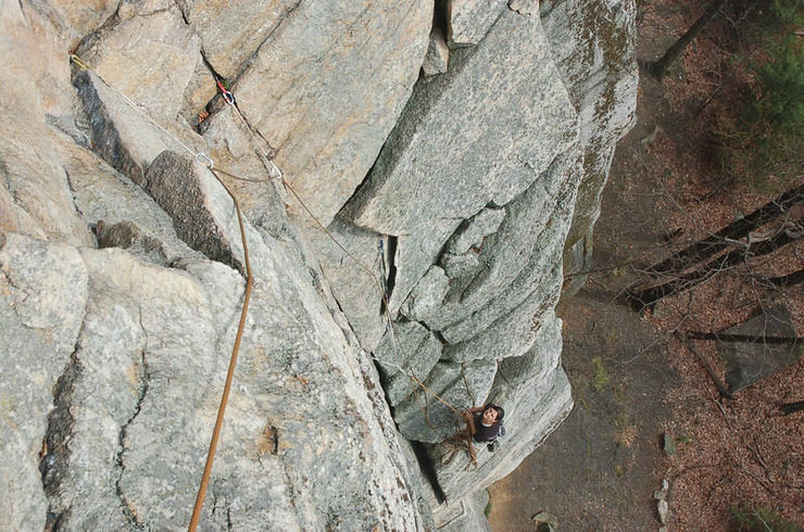 Looking down from part way through the traverse on P2 (if you stopped at the optional belay as we did).
