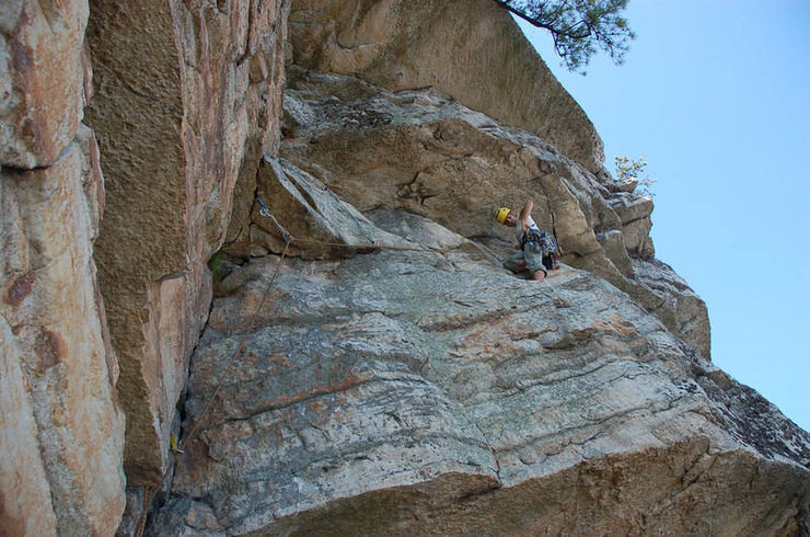 The traverse after the crux (unless you head up early, in which case the crux is still to come).