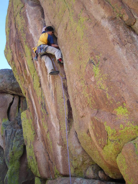Cole nearing the crux on Quiver and Quill.