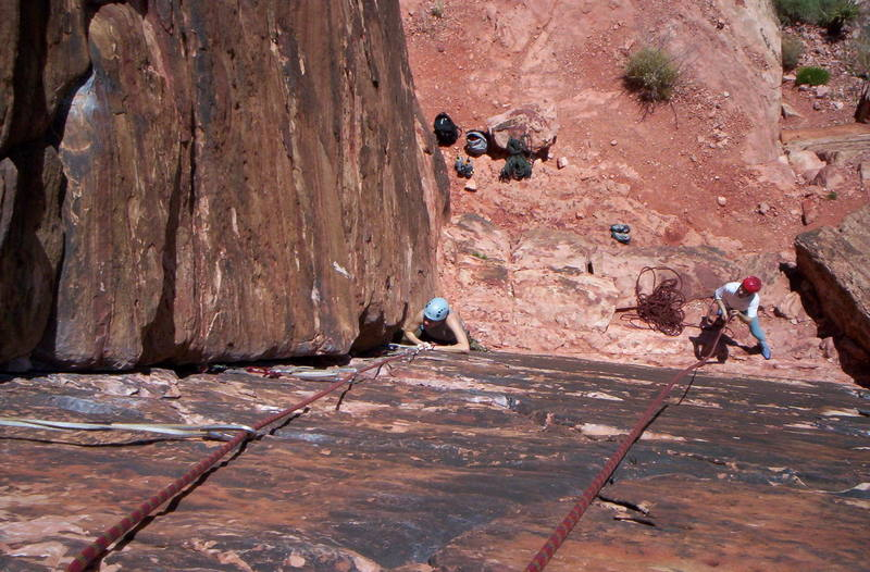 One of the nice climbs in Moderate Mecca.  A good place to learn trad with some short and easy routes.