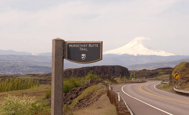 The trailhead sign, looking Southwest.  Mt. Hood in the background.