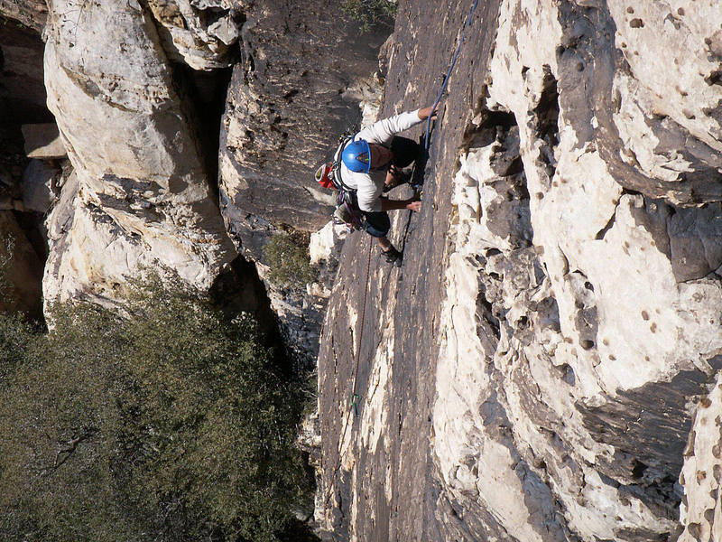 Anthony Anagnostou dances up the technical first pitch on the first ascent.