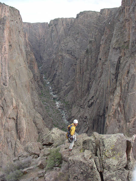 Ryan Deppen looking upstream from high on the Russian Arete.