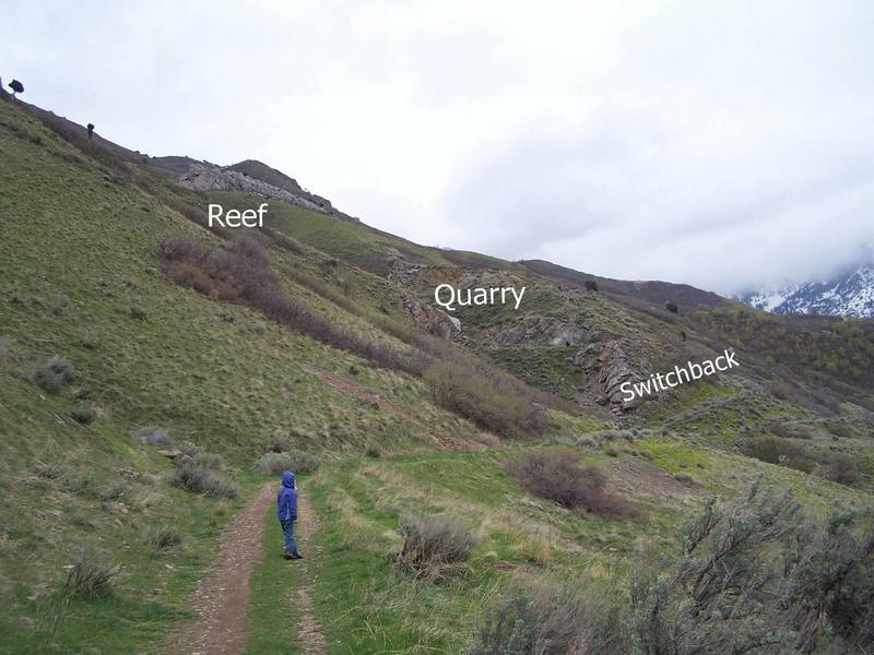 On the approach to the Quarry and Reef areas.  The Quarry is hidden in the box canyon.