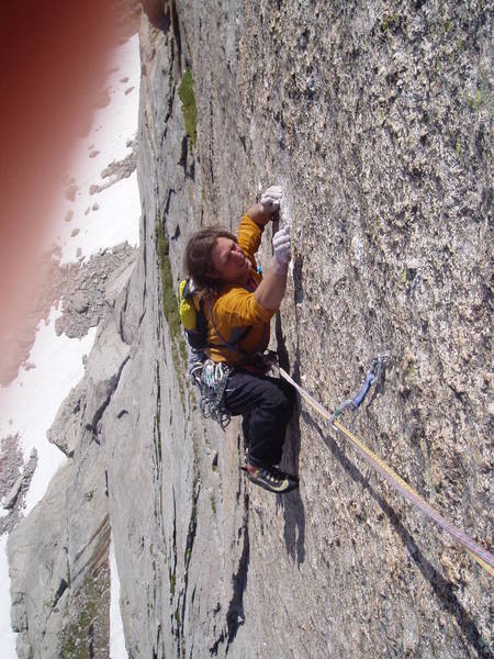 Jim B. crimping down on Spear Me the Details, this is the 5.11b pitch.