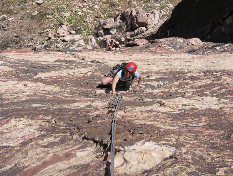 Sharon Vinick on the featured face near the top of P4.  The climbers below are at the top of P3.