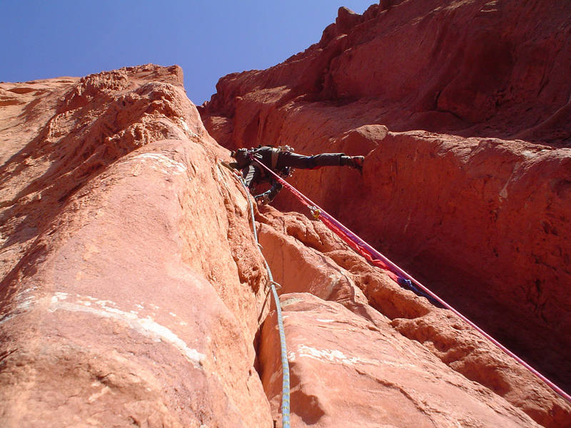Wade stemming up the start of pitch 3.