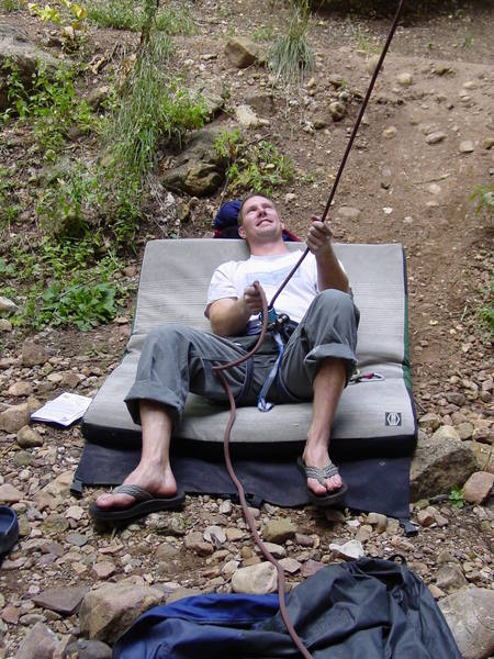 Never try this at home! Belaying in style, Maple Canyon