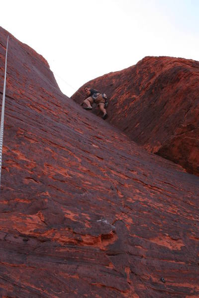 Brian following near the top, just past the thin section that makes the route so great!
