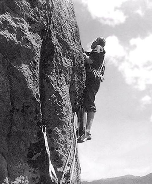 """Starting the 3rd pitch out of the """"Bay Window"""" on the first ascent, June 12, 1962."""