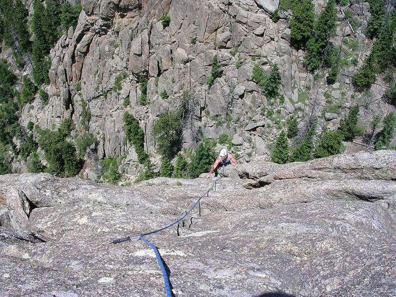 Jeff Gunter enjoying Sky Route. Photo taken from the top.  '05.