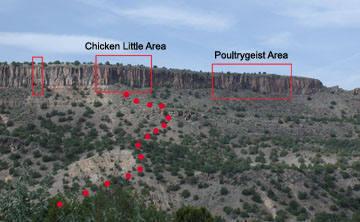 Cockscomb crag area overview.<br> <br> Courtesy of Rick Bradshaw, author of online guide: http://www.losalamos.com/diablo/default.asp.