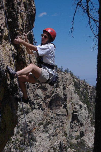 Sharon Legg, Working the lower crux moves.