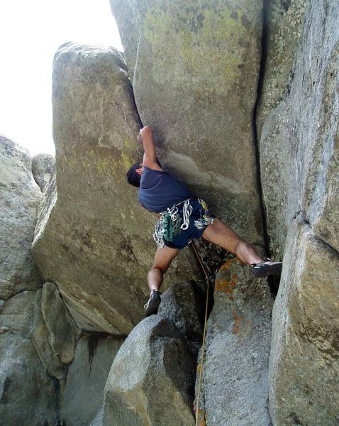 Tony Bubb leads Impassible Crack (11b) in Boulder Canyon, Colorado.
