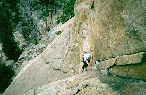 Peter Spindoe follows a route on Turkey Tail (5.9). Circa 2001?