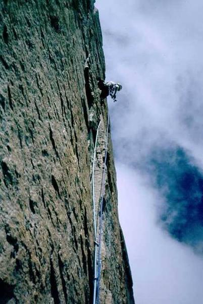 Joseffa Meir leading the crux thin-hands-crack of Pervertical Sanctuary (10c) in RMNP. Circa 2002?