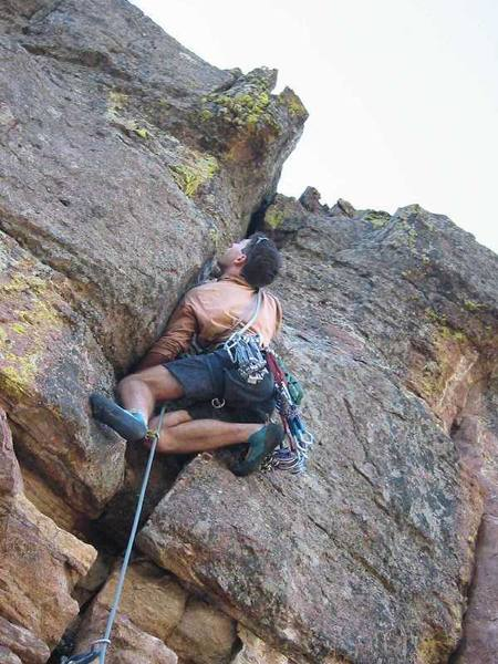 Tony Leads the 'East Overhang (5.10d)' of the Second Flatiron in Colorado. Image by Peter Spindloe, ~2002.