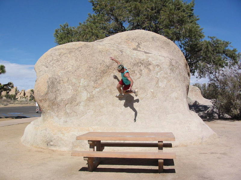 A rock in the Turtle Rock picnic area that was just too sloper to climb normally. There is a film of the end of this horse-play at:<br> http://www.mattygetshigh.com/jtree2002/jtree%20012.avi<br> <br>
