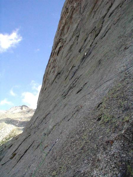 Where's waldo?  He's up in the dihedral after a long traverse in from the right.
