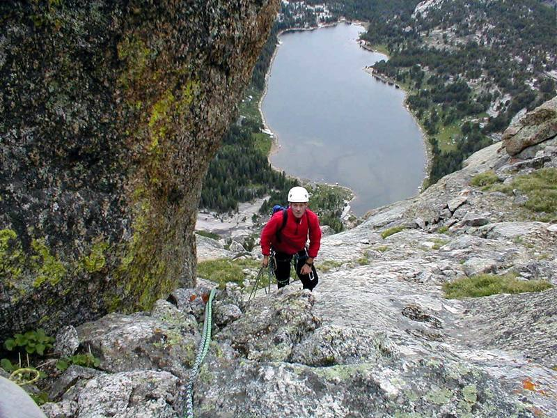 Final pitch to the summit, Clear Lake in the background