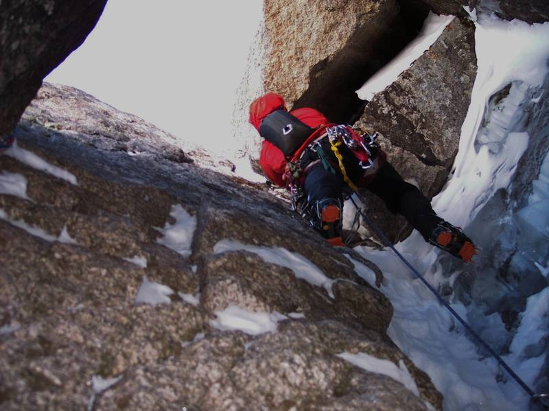 Phil Wortmann on the crux pitch without any ice to climb on!