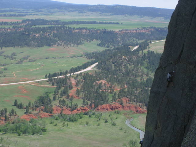 Climber on the wonderful Belle Fourche.  Picture taken from the Teacher's Lounge Ledge.  This pitch has got to be one of the best 10 cracks anywhere.  Classic.