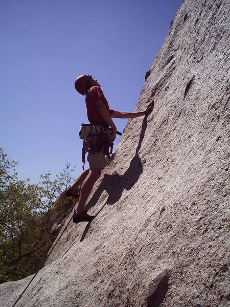 Ok lets see if we can see where the next bolt is up there before I clip this one.  Comfort Zone 5.9-, Little Cottonwood Canyon. 4/29/06
