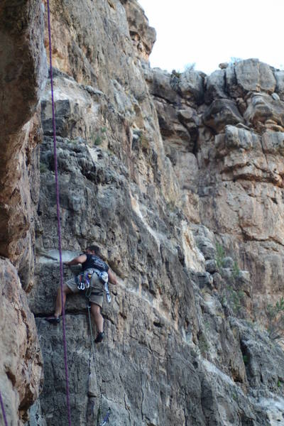 Brian just past the crux on Fist Full of Dollars!!  Have fun on this one!!