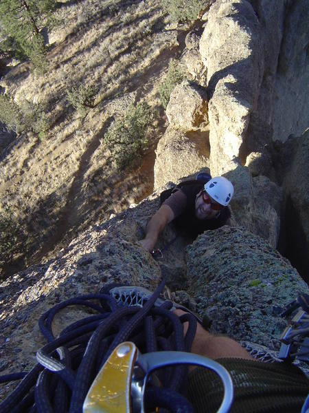 Scotty G, finishing the second pitch of Skyridge