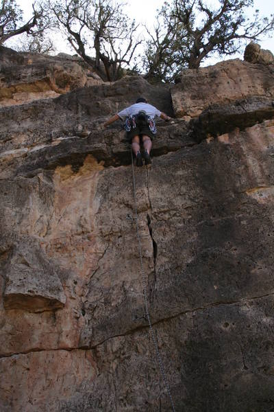 """Bro Dalon just beyond the crux move leading """"Snap, Crack, or Pop"""""""