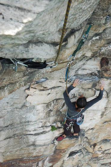 Tricia below the crux.