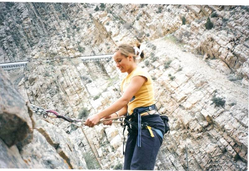 Stefanie at the top of a climb on the 5.8 wall.