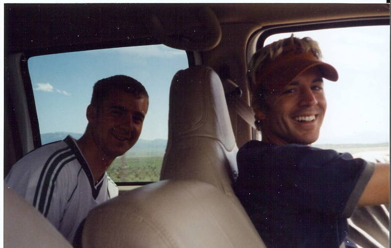 Joel(right) driving home after a fun! City of Rocks trip.