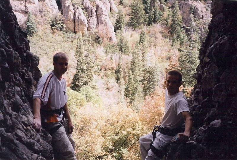 Cameron(right) in Maple Canyon after climbing at the Trash Compactor.