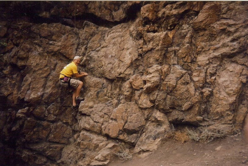 Robert H. smiling, and climbing at 9th Street.