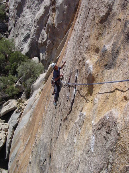 A good view of the first of the two bolt anchors.  The first and easier traverse gets you to the bolts and then the crux traverse moves can be seen bascially following rope.