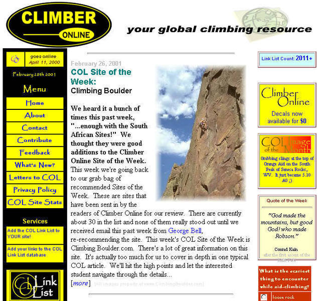 ClimberOnline Site of the Week, February 26, 2001.  The first of two.  WOWOWOWO 1337!!!