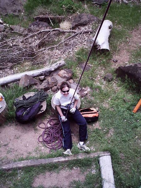 Christie belaying at the Philosophy Wall at Crawdad Canyon.